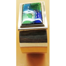 1970's Swedish blue and green enamel on silver cuff