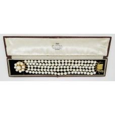 1940's Five rows of cultured pearl bracelet (5-6mm) on 18ct gold clasp