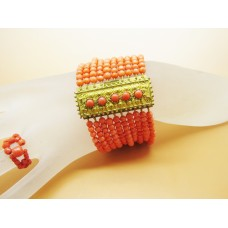 1880's Ten rows of coral bracelet (3mm) on pinch back clasp