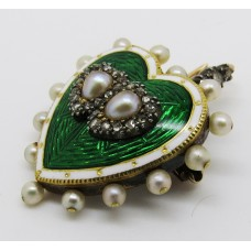 1900 Edwardian green and white enamel and rose diamond - 9ct gold