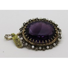 1900 Silver and gold large amethyst  decorated with pearl and diamond brooch pendant