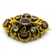 1850's brooch with old cut Crystal.
