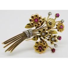 1940's 18ct ruby and diamond bouquet shaped brooch