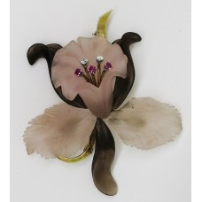 1930's Austrian flower shaped brooch made of rose and smokey quartz ruby and diamond