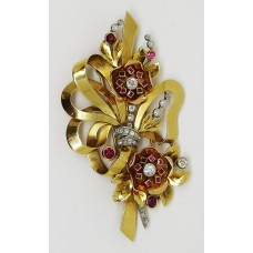 1940's 18ct gold brooch ruby and diamond