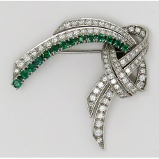 1940's 18ct diamond and Emerald brooch containing 2.5ct diamond and 1ct emerald
