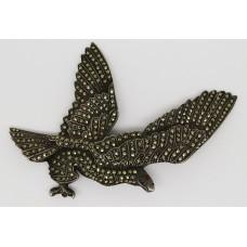 1930's marcasite silver eagle brooch