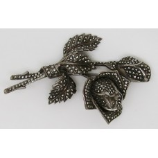 1940's silver marcasite rose brooch