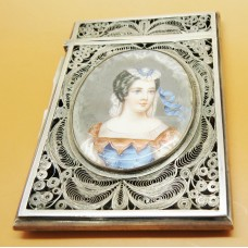 1900 Silver Filigree card case hand painted lady on ivory (Austria)