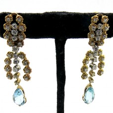 1940's Earrings with Diamond and Aquamarine.