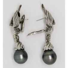 1950's 18ct white gold with diamond and South Sea grey pearl earings