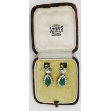 1940's 18ct Platinum earings containing 3ct of emerald and 2.2ct of diamond