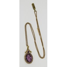 1900 Amethyst and pearl necklace set on 15ct gold