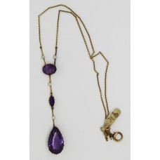 1920's Amethyst and pearl necklace set on 9ct gold