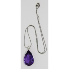 1940's Amethyst and diamond necklace set on platinum single diamond is 0.5ct and Amethyst is 25ct