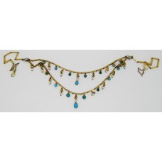 1930's pearl and torquoise necklace set on 18ct yellow gold