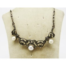 1920's French cultured Pearl and Marcasite necklace set on silver