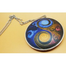 1970's Enamel hand made necklace on silver