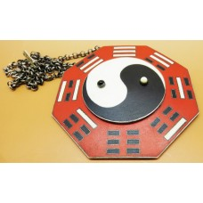 1970's black/white and red enamel on silver necklace