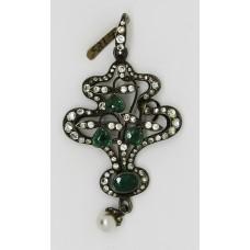 1900 Art Nouveau paste on silver pendant
