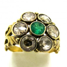 1900's Rose Diamonds and Emerald ring.