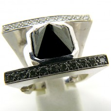 1970's Hand made ring with black Diamonds.