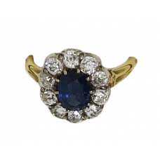 1880 sapphire and diamond ring set on 18ct platinum approx. 1.2ct diamond and 1.3ct sapphire