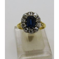 1900's 18ct diamond and sapphire on platinum ring