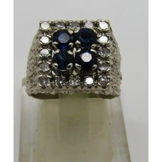 1960's unisex diamond and sapphire 18ct white gold ring