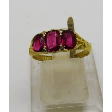 1880's 3 stone ruby ring set on 18ct gold
