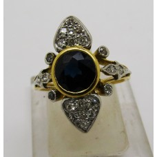 1940's French 18ct platinum ring containing 1.2ct Sapphire and 0.7ct diamond