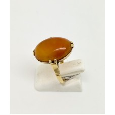 1920s Agate set on 18ct gold ring