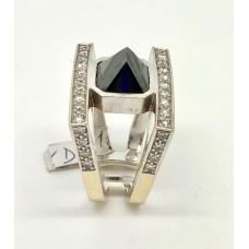 1960's hand made 18ct large black diamond and small diamonds set on 18ct gold