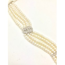 Cultured pearl necklace/chocker Diamond And White Gold 18ct