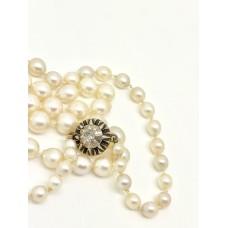 1920s Cultured pearl necklace Diamond Clasp
